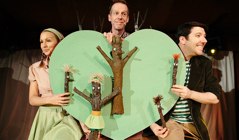 Claire Dargo, Sean Kane and Gordon Cooper in Stickman. Photo Peter Dibdin