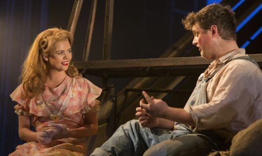 Saoirse-Monica Jackson (Curley's Wife) and Kristian Phillips (Lennie). Photo: The Touring Consortium