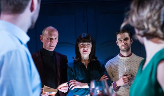 Maureen Beattie (centre) with the cast of Right Now at the Travese. Photo HelenMurray