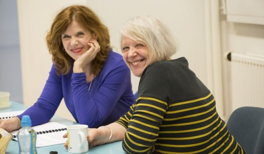 Siobhan Redmond and Liz Lochhead in the rehearsal room. Photo: Aly Wight