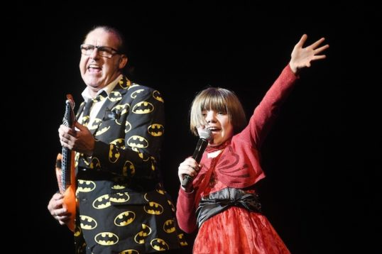 Compere Andy Gray and singing star in the Awfey Huge Fantastic Variety show. Photo Greg Macvean