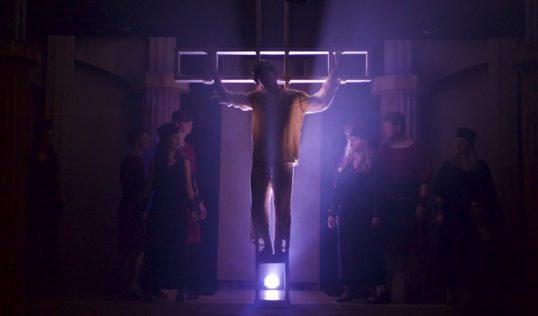 The Crucifixion scene. Photo: Mark Gorman