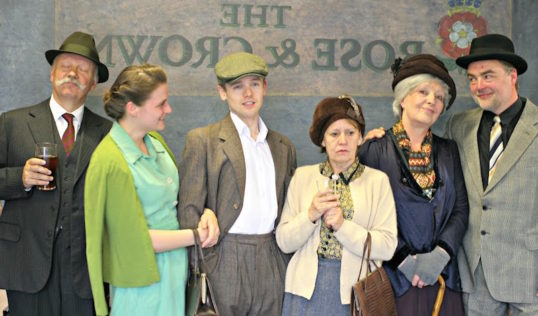 Oliver Cookson, Hannah Bradley, Chris Bain, Hilary Davies, Beverly Wright and Charles Finnie. Photo Arbery Productions