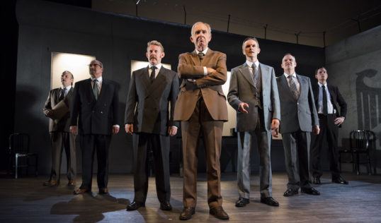 """""""A parade of middle-aged men standing on stage talking"""". The Democracy cast. Photo: Richard Campbell"""