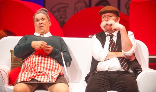 Maw Broon (Joyce Falconer) and Paw Broon (Paul Riley) put the world to rights in The Broons, coming to the King's in November. Photo: Tommy Ga-Ken Wan