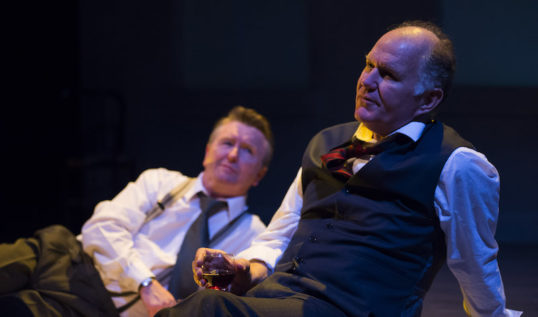Neil Caple (Gunter Guillaume) and Tom Hodgkins (Willy Brandt) in Rapture Theatre's production of Democracy by Michael Frayn. Photo: Richard Campbell.