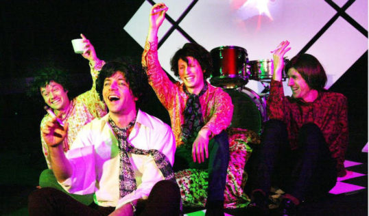 Euan Cuthbertson as Syd Barrett and the cast of One Thinks of it All As A Dream. Photo Leslie Black