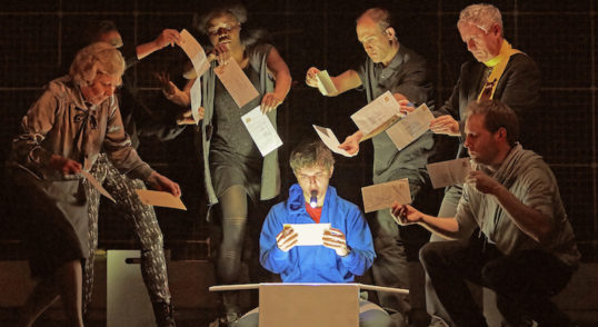 Joshua Jenkins (Christopher) and cast in the 2015/16 tour of The Curious Incident. Photo: Brinkhoff Âgenberg