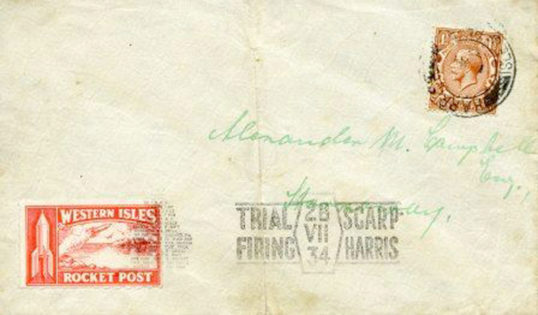 An original piece of 1934 Rocket Post. Image courtesy: Museum nan Eilean