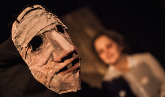 The puppet for the Aged Aunt with Kirsten Millar. Photo Erica Belton