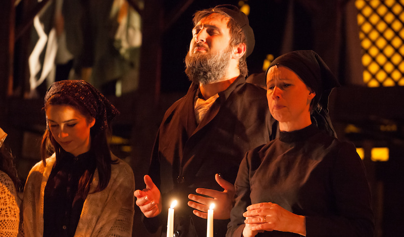 Katie McLean (Chava), Alex Kantor (Tevye) and Libby Crabtrea (Golde) Alan Potter from StagePics.co.uk