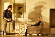 Abhin Galeya (Tesman) and Lizzy Watts (Hedda Gabler) in Hedda Gabler. Photo by Brinkhoff Mogenburg