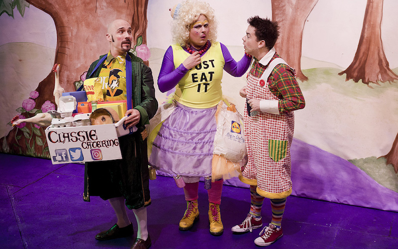 Mat Urey as Murdo, Keith McLeish as Dame Agnes and Martin Murphy as Angus
