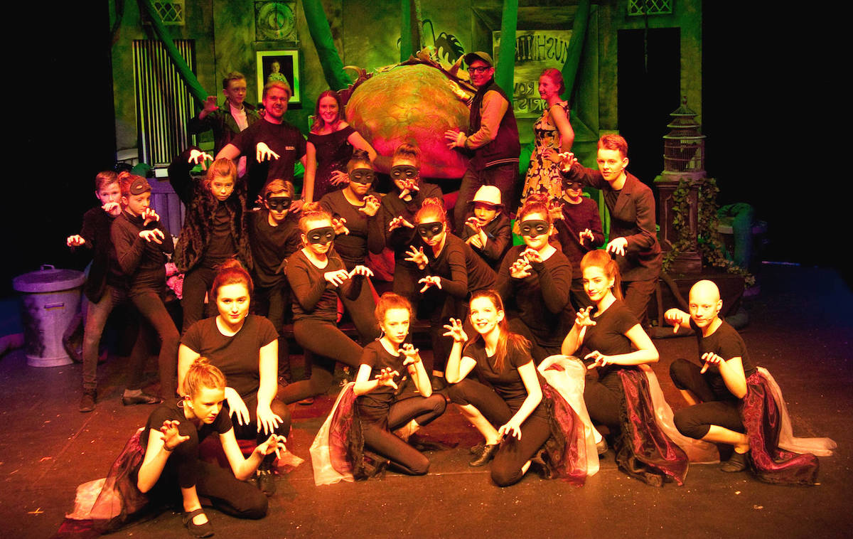 The cast of Little Shop of Horrors. Pic Su Boyle