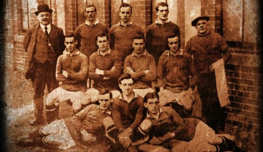 Heart of Midlothian Football Club's 1914-15 team, many of whom signed up to McCrae's battalion.