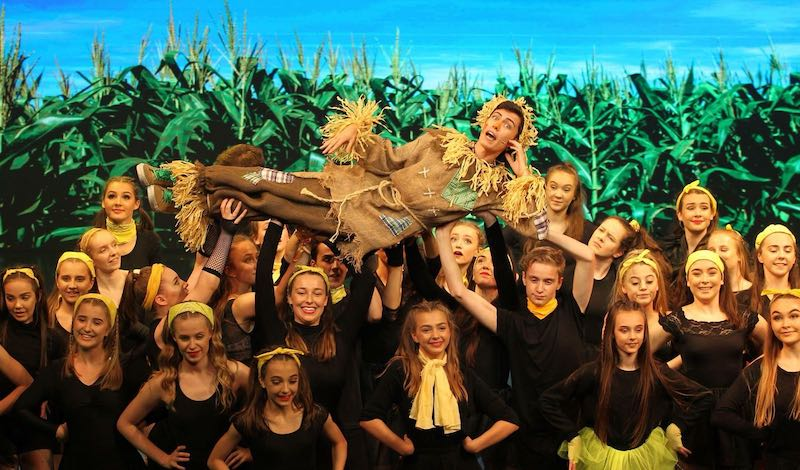 Matthew Steel (Scarecrow) and Crow Dancers. Pic Beyond Broadway Productions
