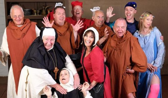 Merry monks, naughty nuns, mysterious visitors and more mirth and mayhem you can shake a stick at. The cast of Edinburgh Peoples Theatre's Cambusdonald Royal