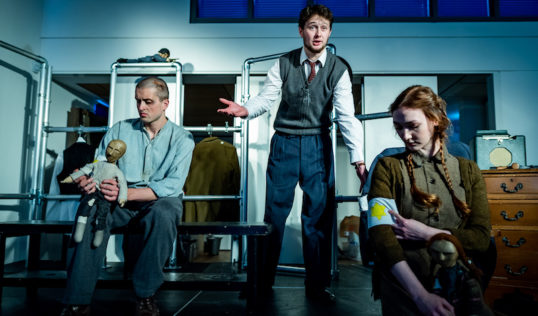 Fraser MacRae (Adzio), Fraser Dodds (Dr Korzak) and Lianne Harris (Stephanie) in Dr Korczak's Example from Strange Town. Pic: Andy Catlin