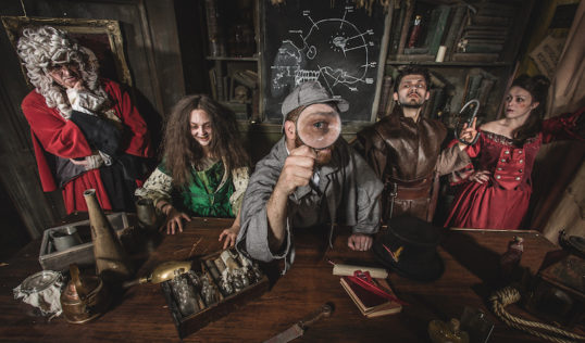 The Deadly Dungeon Murder Mystery cast get spooky. Pic Edinburgh Dungeon.