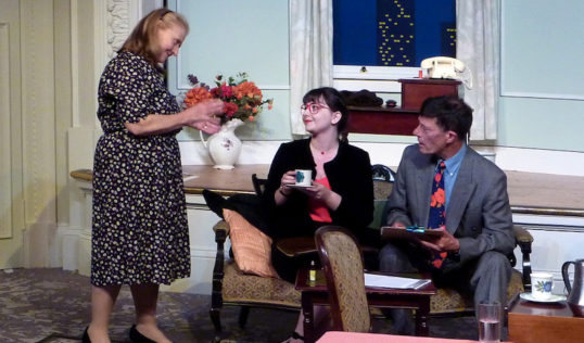 Plaza Suite Act 1 Carol Davidson as Karen Nash, Georgia Smith as Miss Jean McCormack, Mike Appleby as Sam Nash