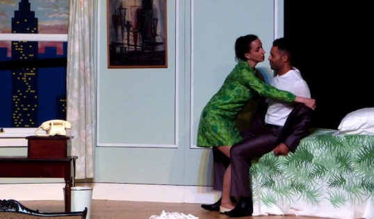 Plaza Suite Act 2 Giulia Frontalini as Muriel Tate, Anton Hiett as Jesse Kiplinger