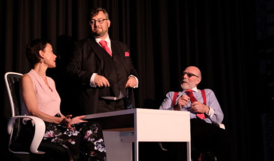 Helen Goldie (Becs), Dan Sutton (TM), Brian Neil (Giles) Skirt The Grads The Royal Scots Club EdFringe 2018