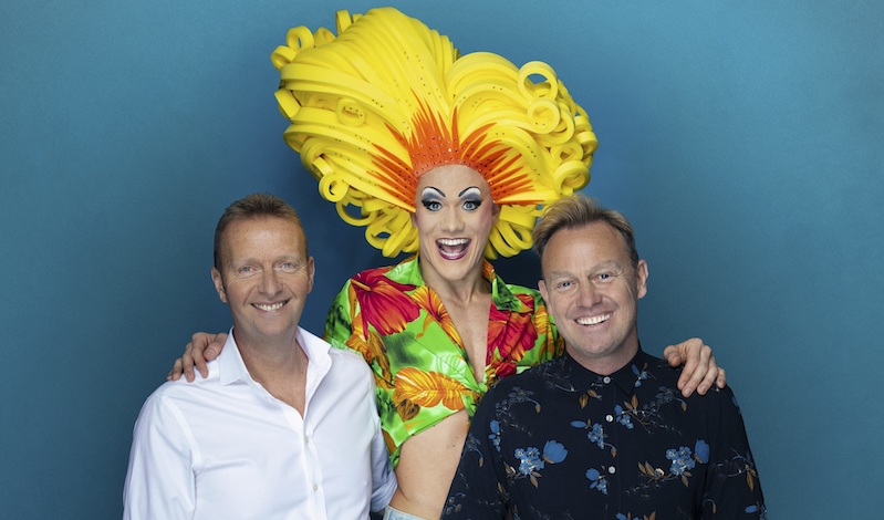 Mark Goucher and Jason Donovan with a big-haired drag queen. Pic: Darren Bell.