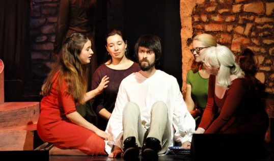Cara Blaikie (left) and Garry Hall with cast. Pic: Simon Boothroyd