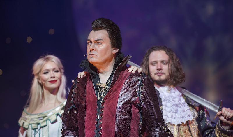 2 Gillian Parkhouse as Belle, Chris Cowley as the Beast, Grant Stott as Flash Boaby. Pic Douglas Robertson