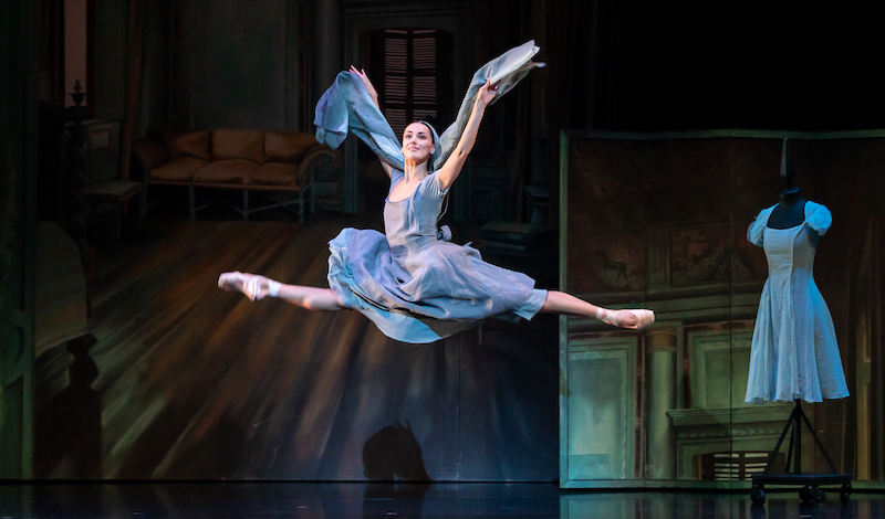 Sophie Martin flies through the air as Cinderella in the shawl dance in Scottish Ballet's ballet - choreographed by Christopher Hampson.