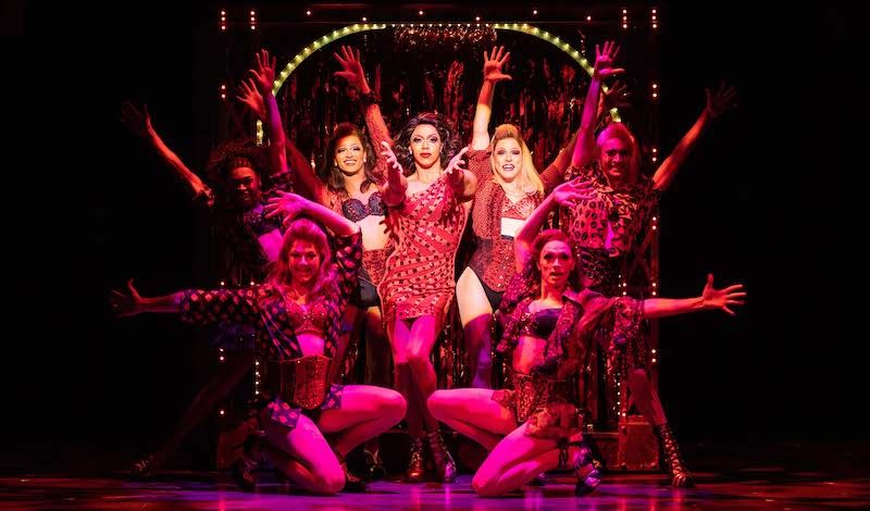 Callum Francis as Lola with the Angels in Kinky Tour_Photo Helen Maybanks