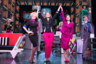 Natalie McQueen (Doralee Rhodes), Caroline Sheen (Violet Newstead), Amber Davies (Judy Bernly) and company in the current Savoy Theatre production of 9 to 5 The Musical. Pic: Craig Sugden