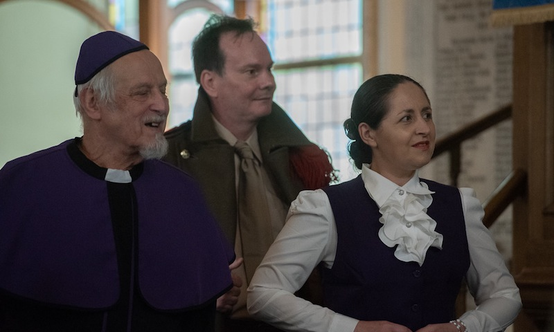 Iain Kerr (Archbishop), Gregor McElvogue and Wendy Brindle (prosecutor). Pic Jon Davey