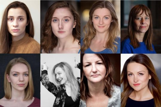 Some of the cast who will be playing Young Woman in Knives in Hens at the Lyceum in the memorial to Pauline Knowles: Shyvonne Ahmmad, Mirren Wilson, Gemma McElhinney and Kate Dickie; Natalie Mitson, Emma Jayne Park, Molly Innes and Nicola Roy.