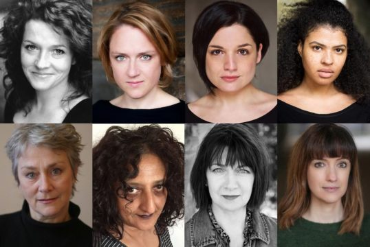 Some of the cast who will be playing Young Woman in Knives in Hens at the Lyceum in the memorial to Pauline Knowles: Muireann Kelly, Lesley Hart, Neshla Caplan and Jamie Marie Leary; Vari Sylvester, Annie George, Maureen Beattie and Sarah MacGillivary