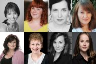 Some of the cast who will be playing Young Woman in Knives in Hens at the Lyceum in the memorial to Pauline Knowles.: Fiona Bell, Sally Reid, Louise Ludgate and Victoria Liddelle; Elaine C. Smith, Ros Steen, Rebecca Elise and Helen MacKay