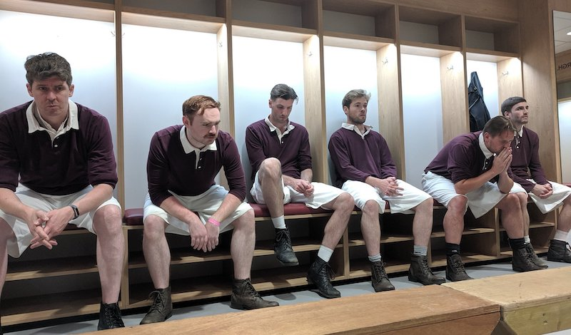 A scene in Hearts dressing room for A War of Two Halves