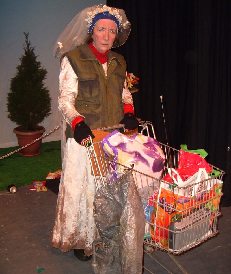 Susan as Kate the bag lady in On The Outside. Pic Susal Wales Hampsen