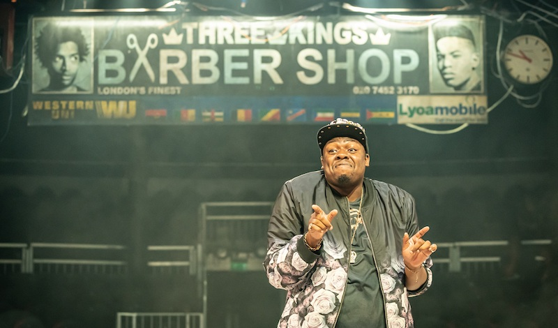 Demmy Ladipo in Barber Shop Chronicles at the Roundhouse (c) Marc Brenner