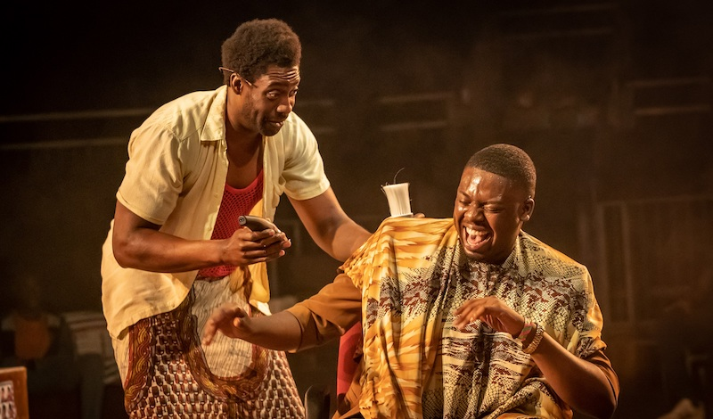 Emmanuel Ighodaro and Demmy Ladipo in Barber Shop Chronicles at the Roundhouse (c) Marc Brenner