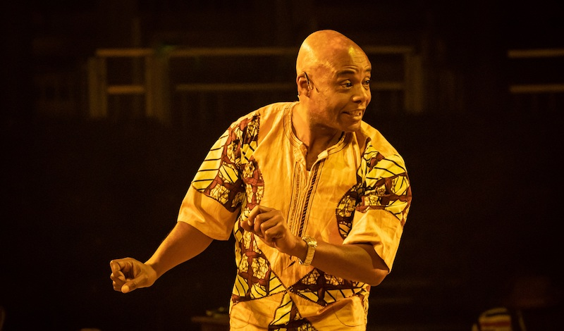 Maynard Eziashi in Barber Shop Chronicles at the Roundhouse (c) Marc Brenner