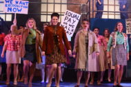 Zoe Brookes (centre) and the cast of Made in Dagenham. Pic: Sean Conner