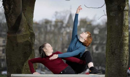 Lucy Ireland and Katie Miller rehearsing Sketches on The Meadows, Edinburgh, ahead of Manipulate. Before the show on Sat 1 Feb, each vignette will be performed in separate outdoor pop-up spaces across central Edinburgh.