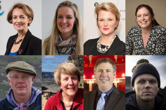 Headshots of Angiolina Foster, Nicola Killean, Hope Dickson-Leach, Heather Stuart, Matt Baker, Agnes Rennie, Jeffrey Sharkey and Darren McGarvey - members of the National Partnership for Culture