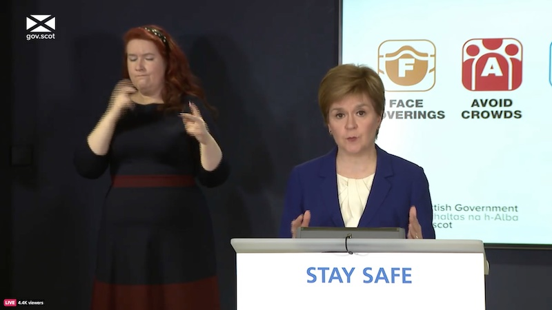 Nicola Sturgeon during the Covid briefing on Tuesday 11 May 2021. Screengrab: Thom Dibdin