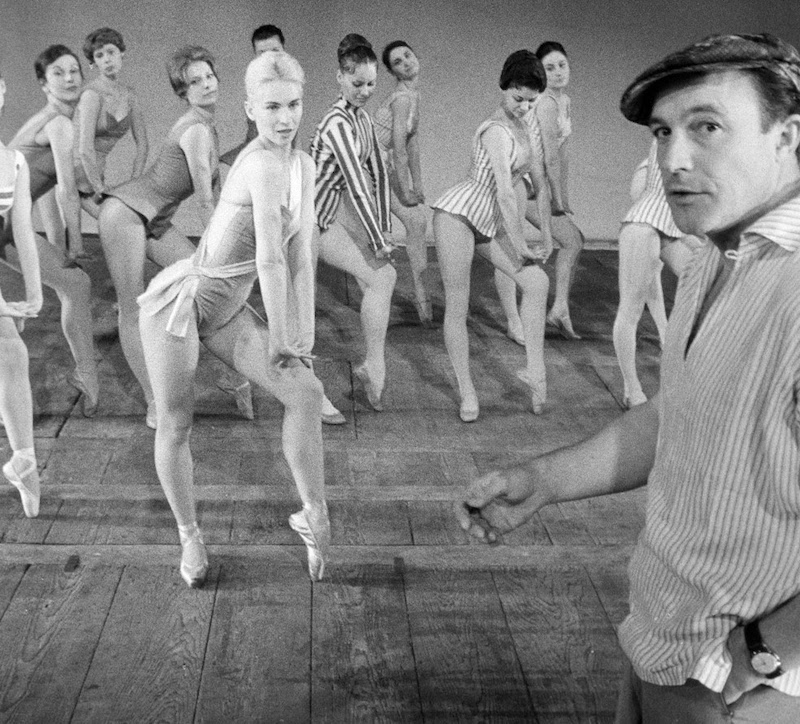 Claude Bessy and dancers of Paris Opera Ballet rehearsing Pas de Dieux with Gene Kelly. Photo by Jack Garofalo